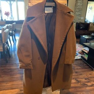 MaxMara  camel hair coat with intricate stitching